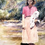 Mom with Tablecloth (21x 30)