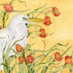 Egret and fritallaria