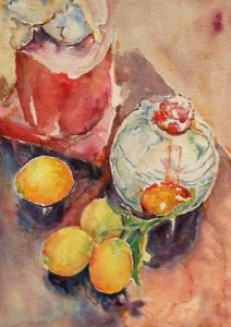 wine bottle and lemons c