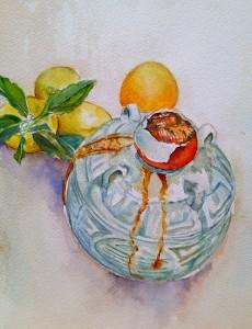 wine bottle, lemons c