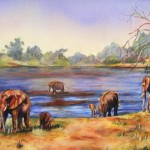 Mother and baby elephants at water hole_ 18x24